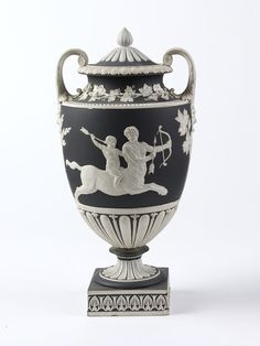 Vase and cover      Place of origin:      Etruria, England (made)     Date:      1800-1830 (made)     Artist/Maker:      Josiah Wedgwood and Sons (maker)     Materials and Techniques:      Jasperware with applied reliefs     Credit Line:      Bequeathed by J.A. Tulk, Esq.