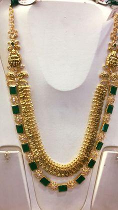 Kasu necklace with emerald haar combination 22 cart gold jewellery