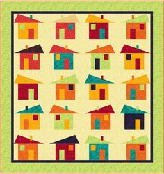 Tipsy School House Quilt pattern designed by Phyllis Dobbs puts a new spin on the traditional school house quilt. #schoolhousequilt #housequiltpattern #whimsyquilt #scrapquilt