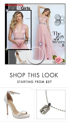 """""""Sherri Hill 50029 V Neck Beaded Blush Prom Dress 2016"""" by chicpromdress ❤ liked on Polyvore featuring Chrome Hearts"""