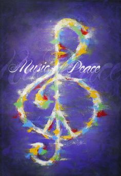 Music and Peace Artist Signed Music Treble Clef by Inspireuart, $15.00