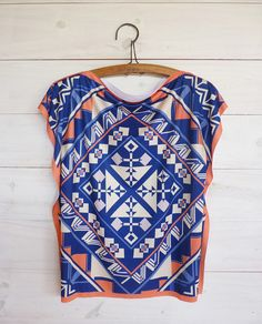 Tunic top ethnic style tshirt tribal  $55.00  #square #summer #blue #fashion #blouse #top