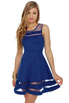 Unique Royal Blue Dress - Mesh Dress - Striped Dress - $40.00