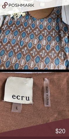 Trendy Ecru Sequined Blouse Large What a Statement blouse with these beautiful Sequined IKat Print. Preowned and clean. Ecru Tops
