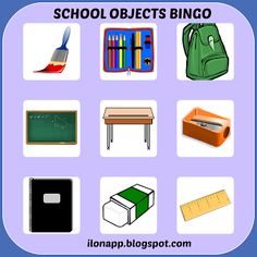 English Freak: SCHOOL OBJECTS BINGO, FLASHCARDS AND DOBBLE (PRINTABLE)