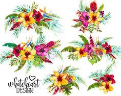 Hibiscus Flowers, Tropical Flowers, Plant Illustration, Watercolor Illustration, Watercolor Flowers, Watercolor Paintings, Watercolors, Tropical Art, Tropical Prints