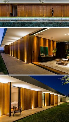 This home has shutters on the exterior to allow the bedrooms to open up to the backyard. landhaus This house is a warm display of wood, concrete, stone, and steel Timber Roof, Timber Cladding, Villa Design, Modern House Design, Facade Lighting, Entrance Design, House With Porch, Forest House, Log Homes