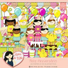 Kit Digital Feliz Aniversário by Vika Matos