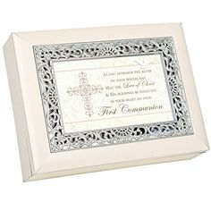First Communion Girl Ivory Finish with Ornate Silver Color Inlay Jewelry Music Box - Plays Ave Maria