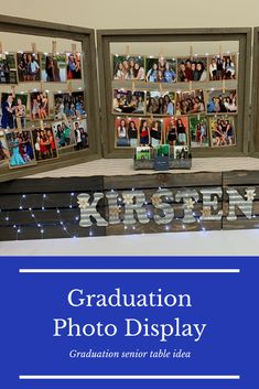 Photo display idea for graduation senior table Graduation Photo Displays, Graduation Party Decor, Graduation Photos, Graduation Invitations, Grad Parties, Diy Party Decorations, Graduation Ideas, Party Pictures