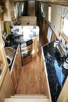 Galley in semi-trad narrowboat Sailboat Living, Living On A Boat, Tiny House Living, Narrowboat Kitchen, Narrowboat Interiors, Barge Interior, Yacht Interior, Interior Design, Small Space Living