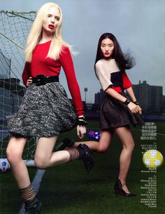 fashion on the ground: lina zhang and chrystal copland by mark seliger for vogue china august 2012