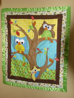 Baby Owl Quilt by jjtaags on Etsy, $95.00  have the center piece must find the the outer owl piece!! Owl Crochet Patterns, Owl Patterns, Quilt Patterns, Owl Quilts, Baby Quilts, Panel Quilts, Quilt Blocks, Applique Designs, Applique Ideas