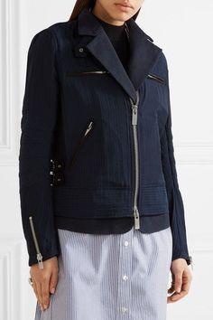 Sacai - Hickory Twill-trimmed Striped Cotton-canvas Peplum Jacket - Navy - 1