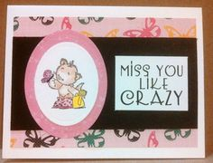 Miss you card for Operation Write Home.  Playful Pets Stamps by Adam Pescott, my Word Art