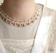 Bridal Lace Pearl White Antique Rose Bead Weaving by Zeesi on Etsy