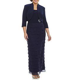 Jessica Howard Plus Brooch Waist ShutterJacket Dress #Dillards