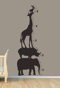 Safari Animal Growth Chart - Wall Art Vinyl. $75.00, via Etsy. waaaahhh!!!!
