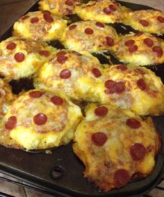 Gluten free pizza muffins!  Suggest making some ingredient substitutions to make the healthier.  Applewood's Pepperoni is nitrate free, a wide variety of choices available for pizza sauce & dough.