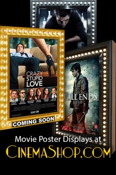 Backlit Movie Poster Frames just like at the movie theater! Movie poster frames lighted up with classic retro running lights or without. Aavailable with lockable frames and indoor or outdoor use frames. Commercial quality and Free shipping. All at CinemaShop.com #movieposterframes