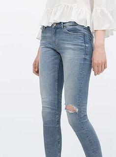 79f196d29e7 Women s Slightly Distressed Denim Jeans - Light Blue   Metal Zipper