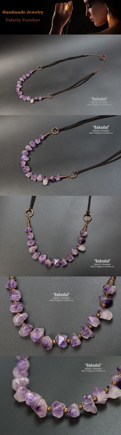 Necklace of handmade with crystals of amethyst. Beaded necklace. Jewelry from beads for women.