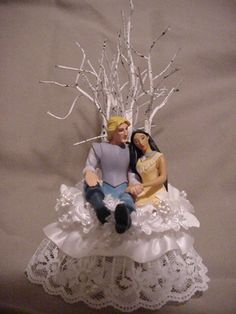 Pocohontas Englishman John Smith wedding cake topper by cinhol, $40.00