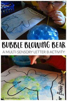 Bubble Blowing Bear Letter B Activity for Preschoolers - A multi-sensory activity for learning the alphabet, letter b! #kids #preschool #preschoolers #preschoolactivity #kidsactivities #learning #learningisfun