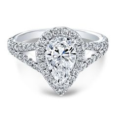 White Gold Pear Diamond Halo Split Shank Engagement Ring from The One Collection™ Split Shank Engagement Rings, Pear Shaped Engagement Rings, Dream Engagement Rings, Halo Diamond Engagement Ring, Vintage Engagement Rings, Pear Shaped Diamond Ring, Pear Diamond, Diamond Rings, Bling Bling