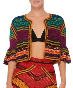 Spencer Vladimir – Tulum Bell Crochet Cardigan See other ideas and pictures from the category menu…. Crochet Summer Dresses, Crochet Skirts, Crochet Cardigan, Crochet Clothes, Spencer, Freeform Crochet, Crochet Lace, Crochet Designs, Crochet Patterns
