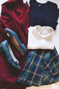Schoolgirl plaid | finchandfawn.com  skirt & coat c/o @chicwish