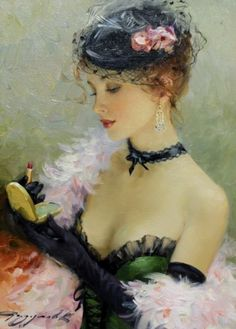 Le rouge à lèvre by Constantin Razumov. Painterly style that captures the ruffles and feathers wonderfully.