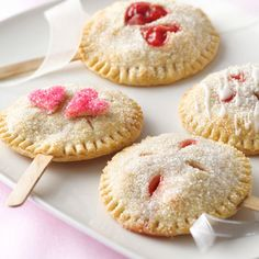 Everyone loves a dessert on a stick, and a pie pop might be our favorite one of all. Borrowed & Bleu's heart-topped pie pops use Pillsbury pie crust and frozen strawberries and rhubarb, so they're super easy to make.  Source: Borrowed & Bleu