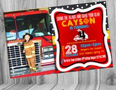 Firefighter Chalkboard Birthday Invite   Check out this item in my Etsy shop https://www.etsy.com/listing/247505768/firefighter-birthday-chalkboard