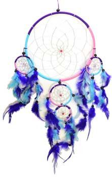 """An impressive dream catcher with a large 8"""" central frame and several smalle dream catchers hanging from the larger. Hangs 20"""""""