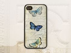 Butterfly phone case, iPhone 4 4S 5 5s Samsung Galaxy S3 S4 Shabby chic, Vintage French Script, Blue butterflies phone cover, V1065 on Etsy, $17.99