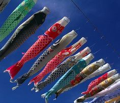 Carp streamers attached to a line ~ Japanese festival images