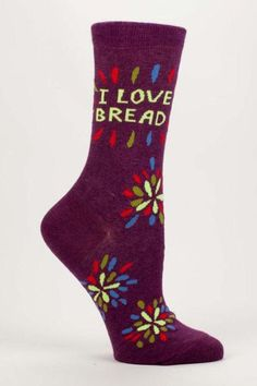Who doesn't love bread right? We just can't give it up. These socks speak what's on everyone's mind. Fits women's shoe sizes 5-10. Machine wash cold tumble dry medium heat. 1% of the sale of these socks supports the humanitarian work of Doctors Without Borders.  Love Bread Socks by Blue Q. Accessories - Socks Ohio