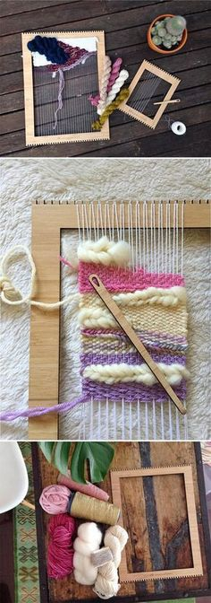 The best DIY projects & DIY ideas and tutorials: sewing, paper craft, DIY. Diy Crafts Ideas Get hooked on a new creative hobby with a weaving loom kit from Etsy seller TheUnusualPear. Weaving Textiles, Weaving Art, Tapestry Weaving, Loom Weaving, Weaving Projects, Craft Projects, Yarn Crafts, Diy Crafts, Woven Wall Hanging