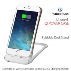 iPhone 6 6S Ultimate Gadget 5-in-1 Qi Wireless Charging Receiver MFi Certified & Portable External Battery & Hard Shell Protection Case & Foldable Desk Synching Station with Synchronous Charging
