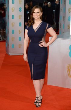 Hayley Atwell BAFTA 2015. I am not sure how I feel about the asymmetrical sheer neckline but I love the overall shape.