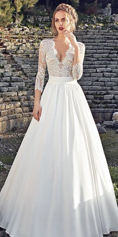 lace-a line long natural waist v neck long sleeve wedding dresses lanesta #weddingdress