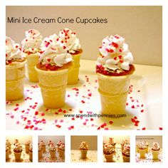 The other day when I was getting groceries, I found the cutest little mini ice-cream cones!  I just had to buy them…  and then I realized they would make ADORABLE mini Ice Cream Cone Cupcakes!  I bought a store brand box mix and a can of whipped cream...