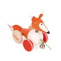 Janod Zigolos Pull Along Fox Early Learning and Motor Skills Toy with Wobbly Non-Skid Wheels and Bell Made of FSC Certified Beech and Cherry Wood for Ages 12 Months+ Pull Toy, Early Learning, Motor Skills, Kids Toys, Christmas Ornaments, Holiday Decor, Home Decor, Janod, Fox Baby