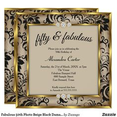 Shop Fabulous 50 Photo Gold gray Black Damask birthday Invitation created by Zizzago. Personalize it with photos & text or purchase as is!