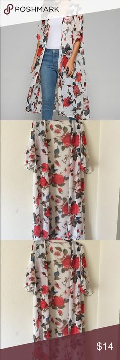 Rose Print Kimono NWT. Perfect condition. Polyester & Chiffon. ✅Bundle & save! Jackets & Coats