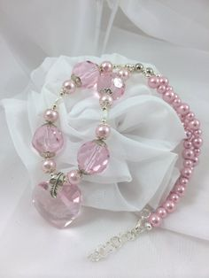 Pink Swarovski Heart Necklace by mccoyblingandthings on Etsy, $21.00