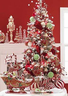Candy Christmas Tree Themes This I like, it's just too busy Beautiful Christmas Trees, Christmas Tree Themes, Noel Christmas, Winter Christmas, Christmas Crafts, Whimsical Christmas, Christmas Christmas, Xmas Trees, Magical Christmas