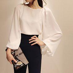 solido camicetta / camicia bianca delle donne, lavorare girocollo manica lunga del 2015 a €8.54