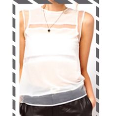 """"""" SALE """" White Chiffon Sheer Top !   Women's sleeveless top! Sheer chiffon ! Casual ! Party ! Beach ! Sexy ! For any occasion!!  In package !  Runs small !! Boutique Tops"""